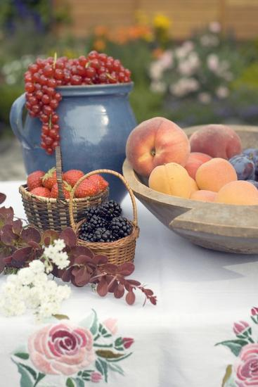 Summer Fruit Still Life on Table in Garden-Foodcollection-Photographic Print