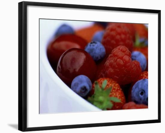 Summer Fruits in White Ceramic Bowl: Strawberries, Raspberries, Blueberries and Cherries-James Guilliam-Framed Photographic Print