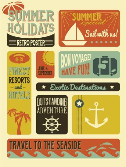 Summer Holidays Poster - Retro Style Summer Poster-LanaN.-Art Print