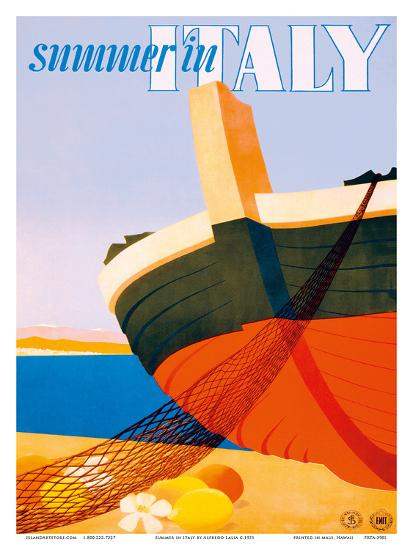 Summer in Italy - Bow of a Italian Fishing boat-Alfredo Lalia-Art Print