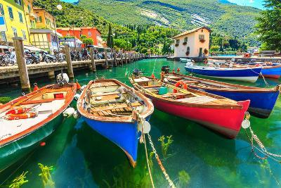 Summer Landscape and Wooden Boats,Lake Garda,Torbole Town,Italy,Europe-Gaspar Janos-Photographic Print