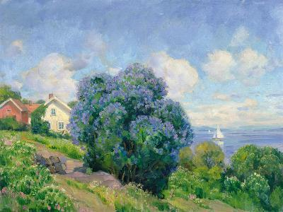 Summer Landscape with Lilac Bush, House and Sailing Boat-Thorolf Holmboe-Giclee Print