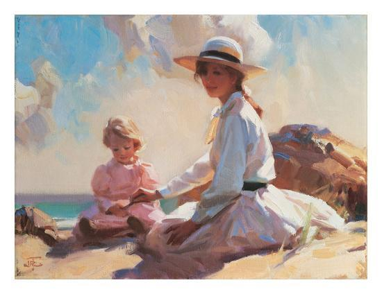 Summer On The Beach-John Richard Townsend-Art Print
