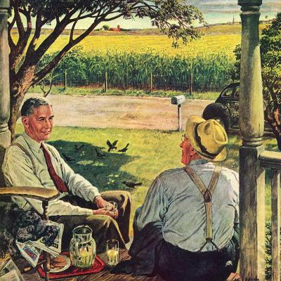 """Summer on the Farmhouse Porch,""August 1, 1947-W^C^ Griffith-Giclee Print"