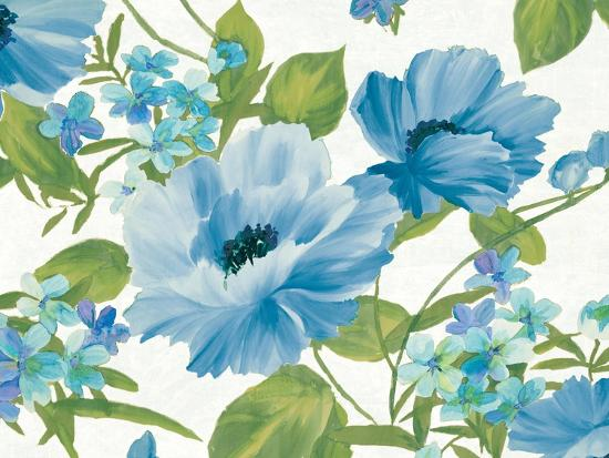 Summer Poppies Blue Crop-Wild Apple Portfolio-Art Print