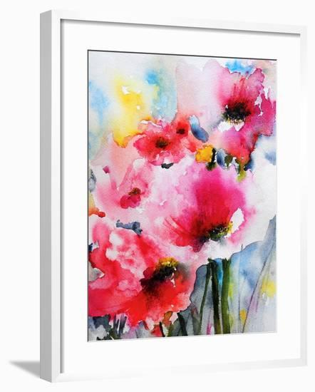 Summer Poppies II-Karin Johannesson-Framed Art Print