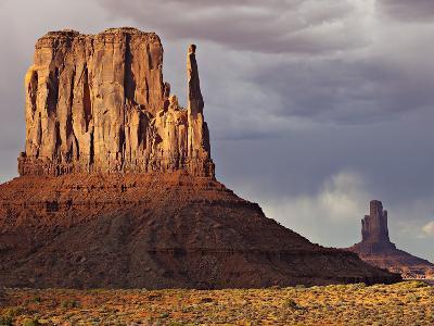 Summer Rain Clouds, Sunlit West Mitten and Big Indian Rock Formation-Derek Von Briesen-Photographic Print