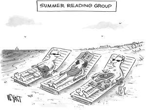Summer Reading Group -- Three beach goers lounge with books used as a drin... - New Yorker Cartoon
