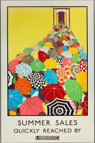 Summer Sales, Quickly Reached by Underground, 1925-Mary Koop-Premium Giclee Print