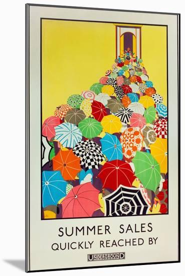 Summer Sales, Quickly Reached by Underground, 1925-Mary Koop-Mounted Giclee Print