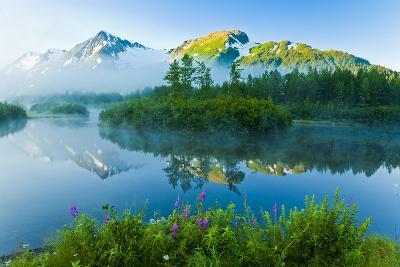 Summer Scenic of Mist over Moose Ponds and Explorer Glacier in Portage Valley, Alaska-Design Pics Inc-Photographic Print