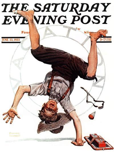 """Summer Vacation, 1923"" Saturday Evening Post Cover, June 23,1923-Norman Rockwell-Giclee Print"