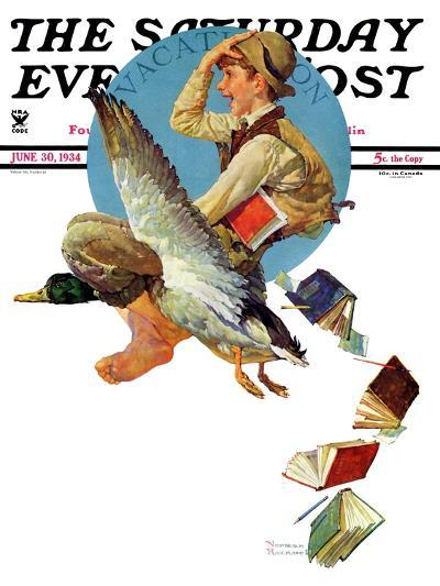 """Summer Vacation, 1934"" Saturday Evening Post Cover, June 30,1934-Norman Rockwell-Giclee Print"