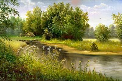 Summer Wood Lake With Trees And Bushes-balaikin2009-Art Print