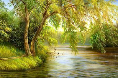 Summer Wood Lake With Trees And Bushes-balaikin2009-Art Print