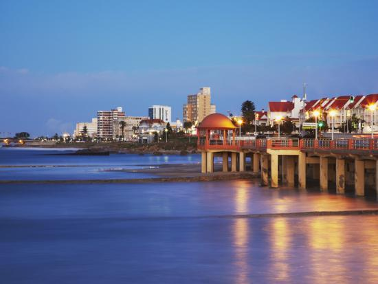 Summerstrand Beachfront at Dusk, Port Elizabeth, Eastern Cape, South Africa-Ian Trower-Photographic Print
