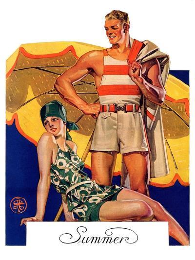 """""""Summertime, 1927,""""August 27, 1927-Joseph Christian Leyendecker-Giclee Print"""