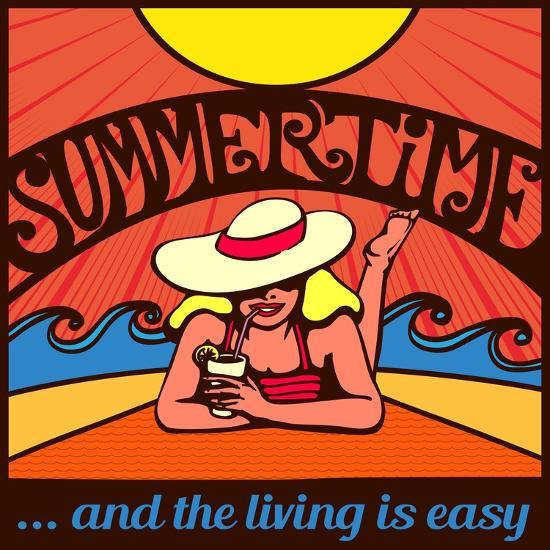 Summertime! Blond Relaxed Girl Sunbathing on a Beach with Waves and Blazing Sun, Vector Poster Desi-durantelallera-Art Print