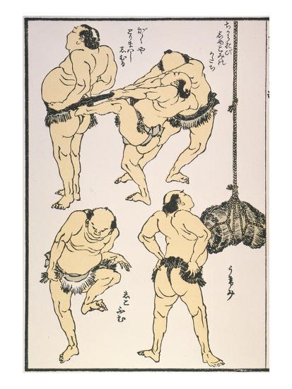 Sumo Wrestlers, 1817-Katsushika Hokusai-Giclee Print