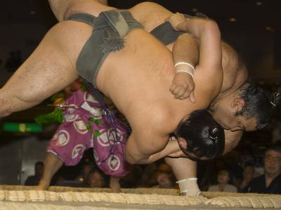 Sumo Wrestlers Competing, Grand Taikai Sumo Wrestling Tournament, Kokugikan Hall Stadium, Tokyo-Christian Kober-Photographic Print