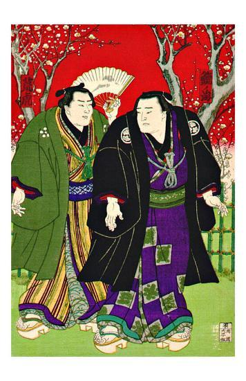 Sumo Wrestlers Strolling Under Cherry Blossoms--Giclee Print