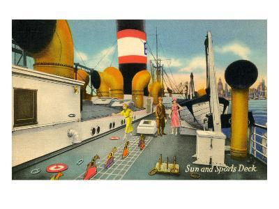 Sun and Sports Deck of Ocean Liner--Art Print