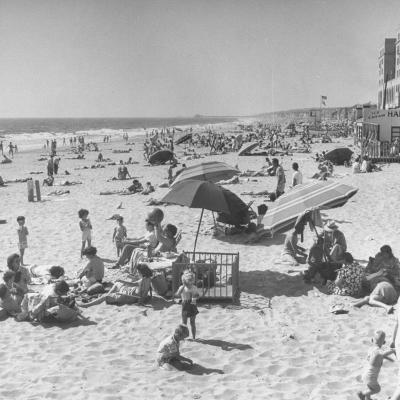 Sun Bathers at Hermosa Beach--Photographic Print