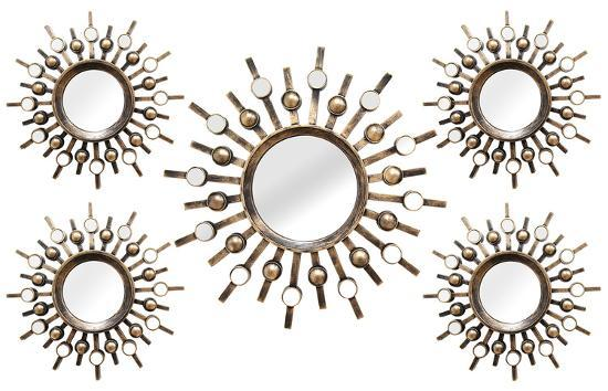 Sun Burst Mirrors - 5 Piece Set Wall Mirror By