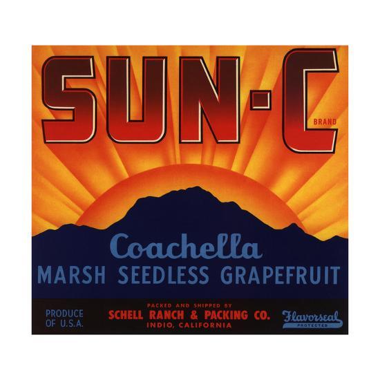 Sun C Brand - Indio, California - Citrus Crate Label-Lantern Press-Art Print