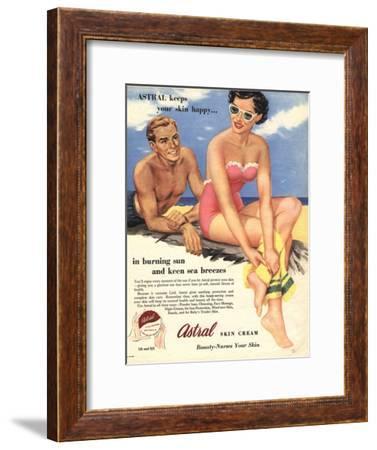 Sun Creams Lotions Tan Tanning Sunburn Astral Suntans Sunbathing, UK, 1950--Framed Giclee Print