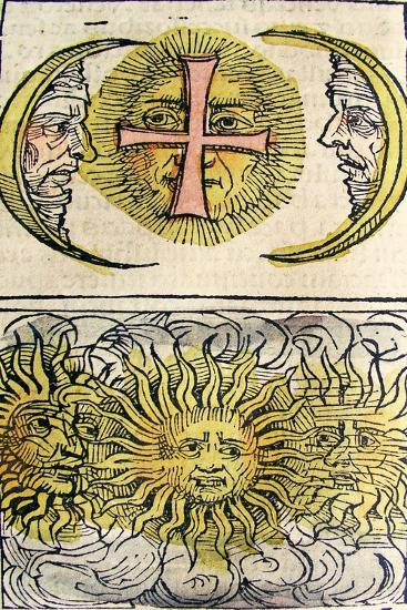Sun Dogs and Moon Dogs, Published in the Nuremberg Chronicle, 1493--Giclee Print