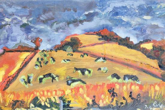 Sun, Fields, Cows: Somerset, 1998-Robert Hobhouse-Giclee Print