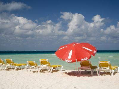 Sun Loungers and Umbrellas, Isla Mujeres, Quintana Roo, Mexico-Julie Eggers-Photographic Print