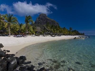 Sun Loungers on Beach and Mont Brabant (Le Morne Brabant), Mauritius, Indian Ocean-Michael Runkel-Photographic Print