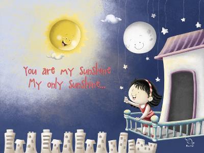 Sun, Moon, Stars- Blue Fish-Art Print