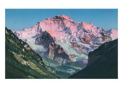 Sun on the Jungfrau, Swiss Alps--Art Print