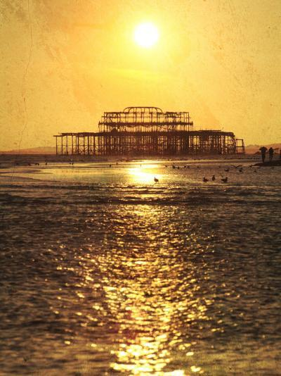 Sun over Ruin of West Pier, Brighton, Sussex, England-Neil Overy-Photographic Print