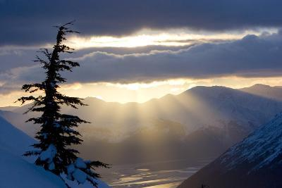 Sun Rays Shinning Through Clouds at Sunset Along Turnagain Arm W-Design Pics Inc-Photographic Print