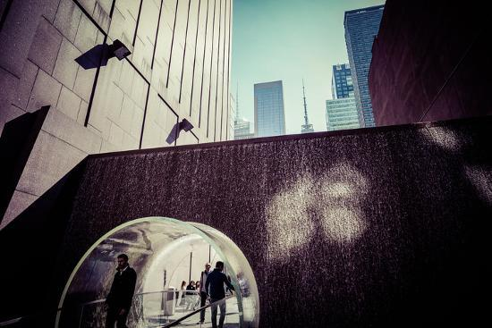 Sun reflection, water design tunnel, business district, Manhattan, New York, USA-Andrea Lang-Photographic Print