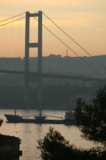 Sun Rise over the Bosphorus Bridge in Istanbul, Turkey-David Sherman-Photographic Print