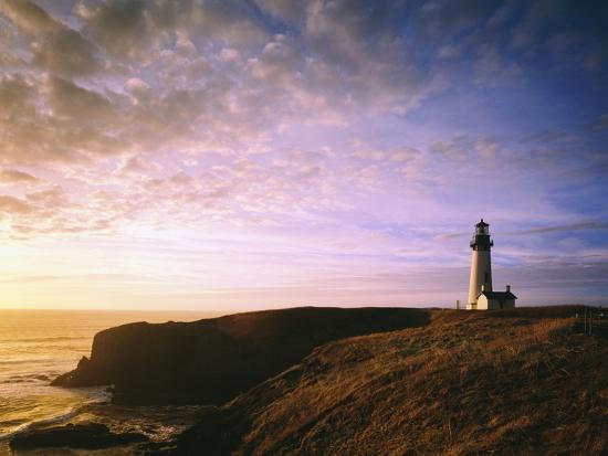 Sun Rising over Yaquina Head Lighthouse-Craig Tuttle-Photographic Print