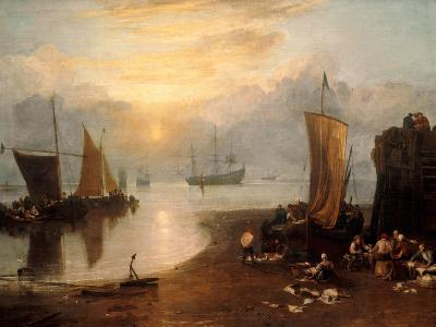 Sun Rising Through Vapour: Fishermen Cleaning and Selling Fish-J^ M^ W^ Turner-Giclee Print
