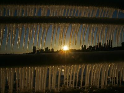 Sun Sets on a Sub Zero Day Behind the Skyline of Milwaukee--Photographic Print