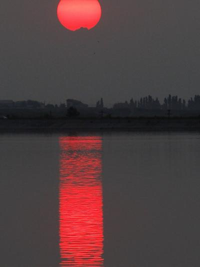 Sun Sets over a Lake on the Outskirts of Bucharest, Romania--Photographic Print
