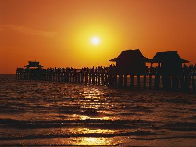 Sun Setting Above Naples Pier-James Randklev-Photographic Print