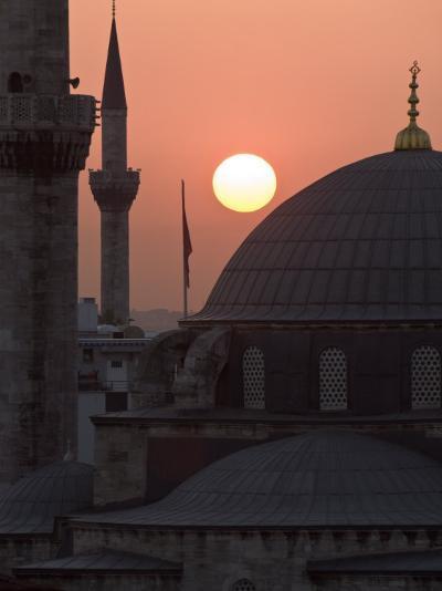 Sun Setting Behind Mahamut Pasha Mosque, Istanbul, Turkey, Europe-Martin Child-Photographic Print