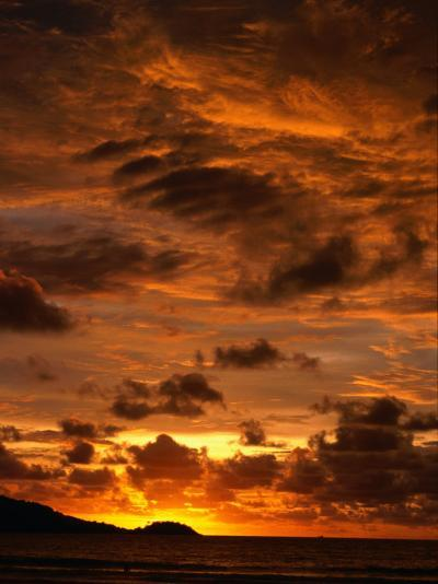Sun Setting Over Patong Beach, Phuket, Thailand-Paul Beinssen-Photographic Print