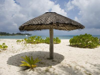 Sun Shade on Beach, Taj Denis Island Resort, Denis Island, Seychelle-Holger Leue-Photographic Print