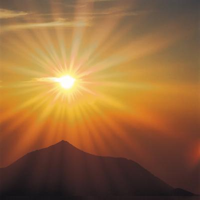 Sun Shinning Over the Mountain, Computer Graphics, Lens Flare--Photographic Print
