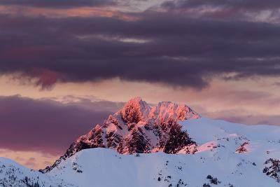 Sun Turns The Peaks Of The Cascades Crimson As Evening Approaches In The Mount Baker Backcountry-Jay Goodrich-Photographic Print